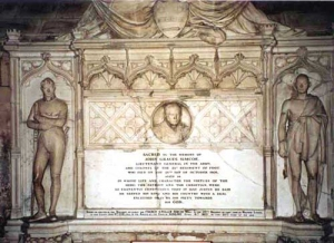 View of the monument to General Simcoe and his son Francis Gwillim Simcoe  in Exeter Cathedral