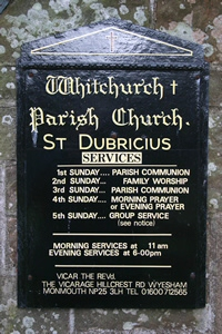 View of the church noticeboard