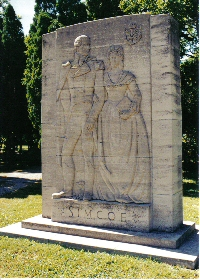 Relief carving of Lt. Gov. Simcoe and his wife Elizabeth at Niagara-on-the-Lake